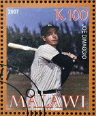 stamp printed in Malawi dedicated to greatest baseball players shows Joe Dimaggio