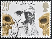 Stamp printed in Great Britain showing Charles Darwin and Prehistoric Skulls