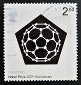 stamp shows Carbon 60 Molecule commemorates the 100th anniversary of the Nobel Prize for Chemistry