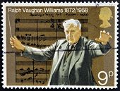 A stamp printed in Great Britain shows Ralph Vaughan Williams
