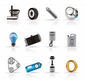 Realistisch auto-onderdelen en Services pictogrammen-