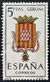 A stamp printed in Spain dedicated to Arms of Provincial Capitals shows Gerona