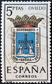 A stamp printed in Spain dedicated to Arms of Provincial Capitals shows Oviedo