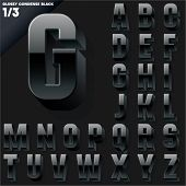 Vector alphabet of simple 3d glossy letters. Condensed. Black Upper cases