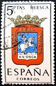 A stamp printed in Spain dedicated to Arms of Provincial Capitals shows Huesca