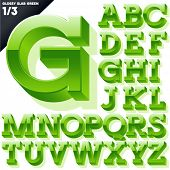 Vector alphabet of simple 3d glossy letters. Slab. Green Upper cases
