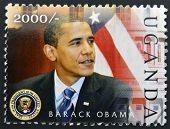 A stamp printed in Uganda shows Barack Hussein Obama