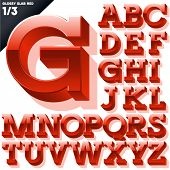 Vector alphabet of simple 3d glossy letters. Slab. Red Upper cases
