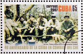 stamp shows Inti Urbano Rolando el Che Tuma y Arturo in the Sierra Maestra