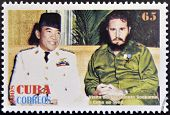 Stamp printed in cuba shows President Sukarno of Indonesia and Fidel Castro