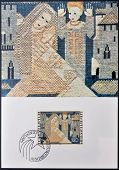 stamp dedicated to embroideries by Ferdinand Nigg shows Annunciation