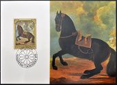 stamp dedicated to paintings of Golden Carriage and Horses shows portrait of a Blakish brown Stallio