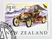 A stamp printed in New Zealand dedicated to old cars shows 1911 Wolseley