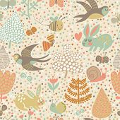 Cute seamless pattern with birds swallows, rabbits, bees and flowers. Stylish floral background in m