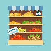 stock photo of flat-bread  - Supermarket grocery shelf layout with fresh fruits - JPG