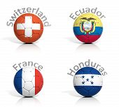 Group of soccer balls Switzerland,Ecuador,France,Honduras isolated