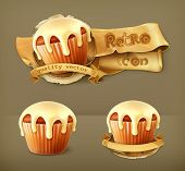 Cupcake, retro vector icon