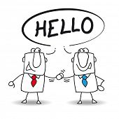 image of politeness  - Two businessmen say hello - JPG