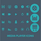 media player flat icons set  for digital web, print, design, mobile phone apps, vector