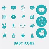baby, children, toys flat icons set  for digital web, print, design, mobile phone apps, vector