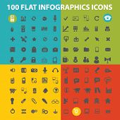 100 infographics flat icons set  for digital web, print, design, mobile phone apps, vector