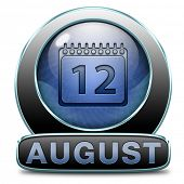 august warm summer vacation month event calendar button or timetable schedule icon