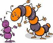 stock photo of caterpillar cartoon  - Cartoon Illustration of Ant and Caterpillar or Millipede Insects Characters - JPG