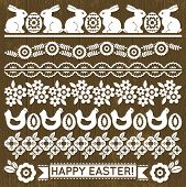 Set Of Lace Paper With Flowers And Easter Eggs, Vector