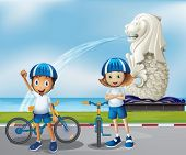 Illustration of the two cute bikers standing in the front of the Merlion