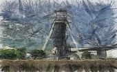 Color Pencil Sketch Of A Mine Shaft