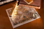Antique Compass  And Old Map