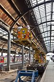 Workers Repair The More Than 100 Years Old Roof Of Classicistical Train Station In Wiesbaden