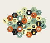 Collection of modern colorful flat icon. Set of work office or school shapes.