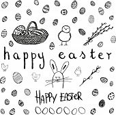 Doodle Vector Easter Set. Bw