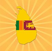 Sri Lanka map flag on sunburst vector illustration