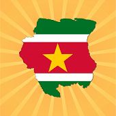 Suriname map flag on sunburst vector illustration