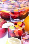 foto of sangria  - Fresh sangria in glass bowl close up