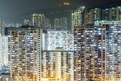Hong Kong city buildings at night
