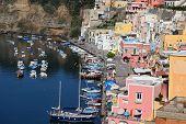 Procida, Beautiful Island In The Mediterranean Sea Coast, Marina Della Corricella Naples, Italy