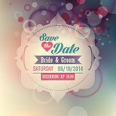 Wedding invitation card with abstract design. Vector illustration.