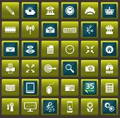 BlueGreen Vector template for interface and 35 outlined icons. Vector illustration.