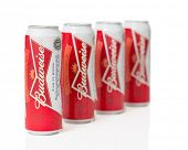 TELFORD, UK - March 25, 2014: Photo of cans of Budweiser lager beer.  Budweiser is the worlds larges