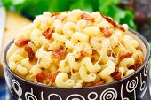 Pasta and cheese with bacon