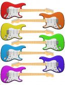 Rainbow Colored Electric Guitars