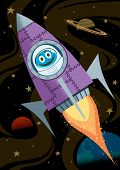 stock photo of yuri  - Cartoon illustrations of rocket in space - JPG