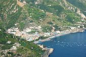 impressive scenic view of town maiori on amalfi coast, italy