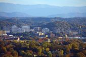 stock photo of knoxville tennessee  - View of Knoxville skyline and the Great Smoky Mountains - JPG
