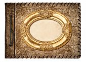 Vintage Photo Album. Leather Cover And Golden Frame