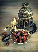 Dates, Oriental Lamp, Lantern And Rosary. Arabic Holidays Concept