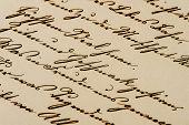 Antique Handwritten Letter. Aged Paper Background
